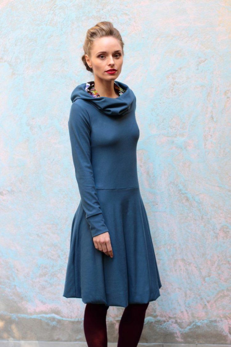 Hoodie Kleid Jeansblau