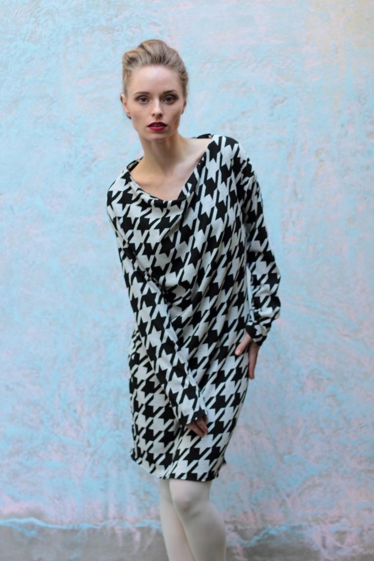 schwarz weiß, asymmetrisches Kleid