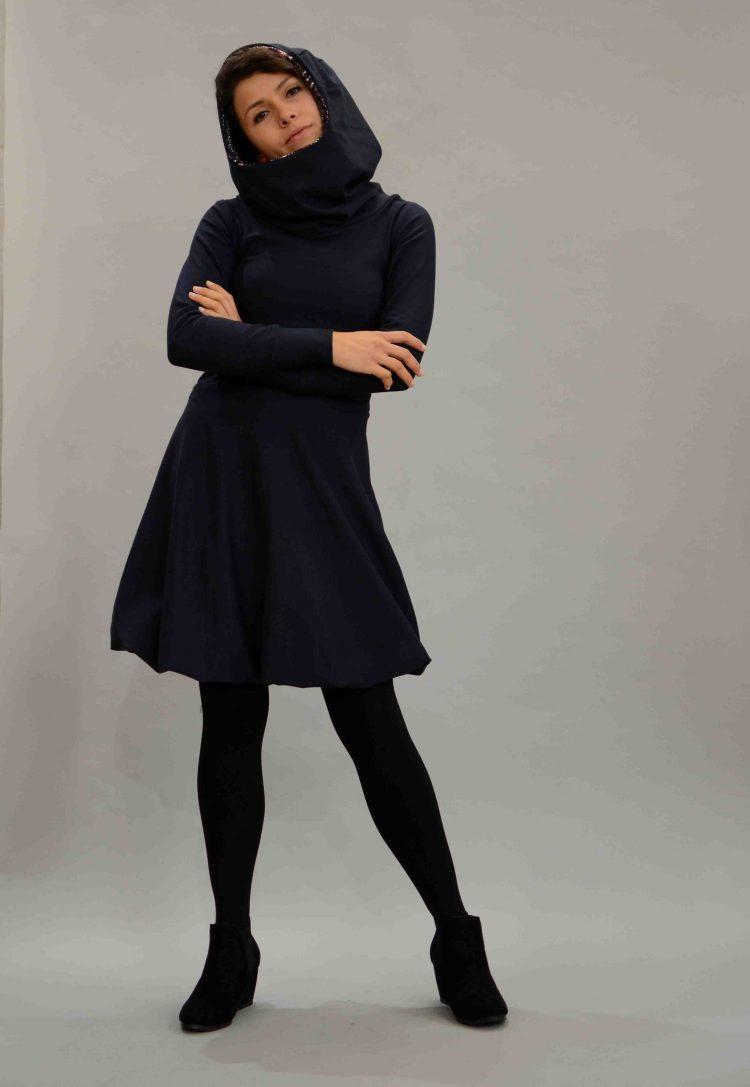 Kapuzen Kleid blau
