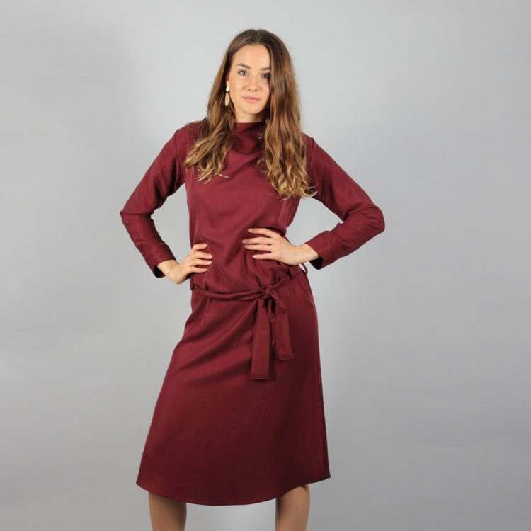 Midi Tencel Kleid in Bordeaux