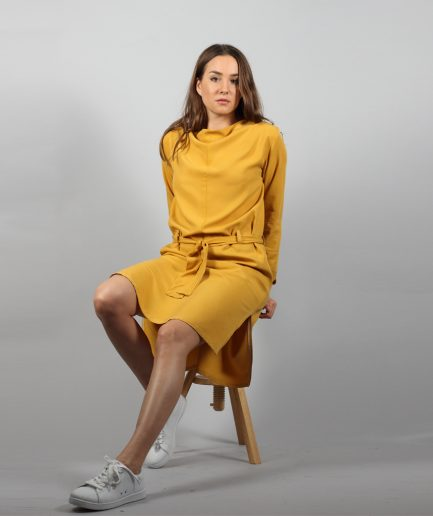 Midi Tencel Kleid in senfgelb