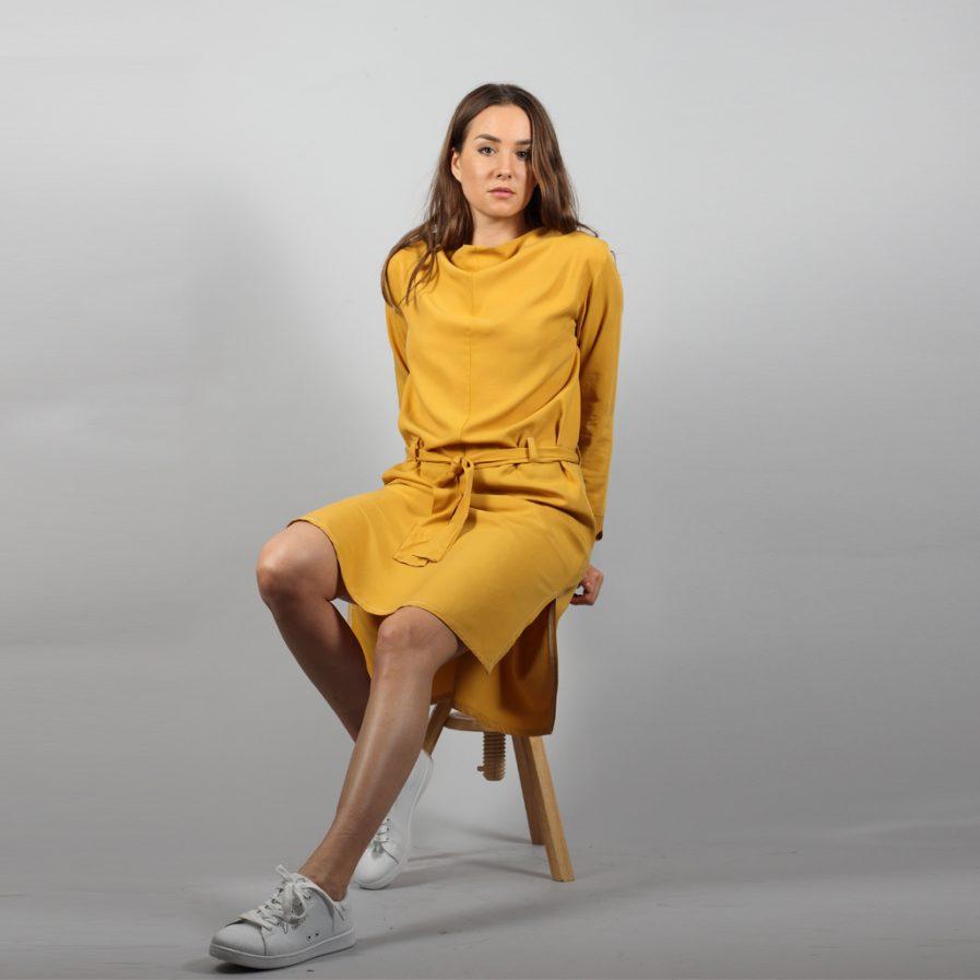 Midi Tencel Kleid in senfgelb