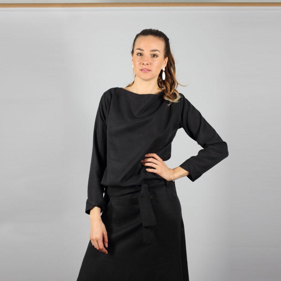 Midi Tencel Kleid in schwarz