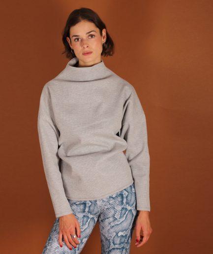 Stehkragen Pullover grau